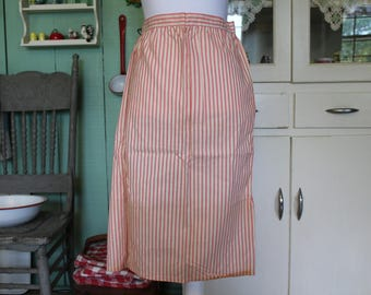 Vintage Half Apron, Pink and White Ticking Striped Apron, Apron with Pink and White Ticking, Long Half Apron, Pink Apron, Farmhouse Apron