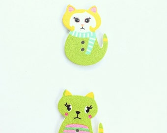 Kitten Button - Shankless Buttons - Cat Button Embellishment - Wooden Buttons - Scrapbook Buttons Notions - Craft Supply Flat back Buttons