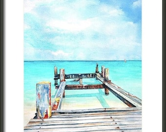Pier, Turquoise Ocean, ORIGINAL watercolor painting 11x14, Tropical, Caribbean, Grace Bay, Turks Caicos,Beach art, beach, pelican,dock,bird