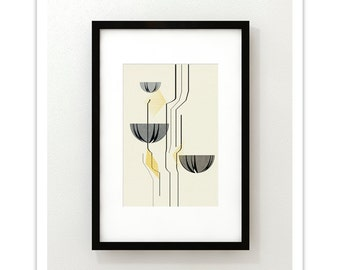 LOTUS 178 - Giclee Print - Mid Century Modern Danish Modern Abstract Modernist