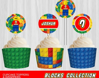 Printable Building Blocks Cupcake Toppers and Wrappers   Personalized