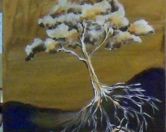original art acrylic painting tree root zentangle