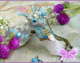 OOAK Dragon Quartz Pendant / Dragon Necklace / Dragon Jewelry / Daenerys Necklace