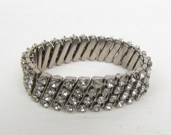 Vintage ~ Rhinestone ~ Stretch Bracelet ~1950s ~ Clear Glass Rhinestones ~ Four Rows ~ Expandable