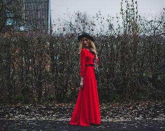 Dress, GYPSY SOUL Bohemian Red dress, long, flowy, romantic, feminine