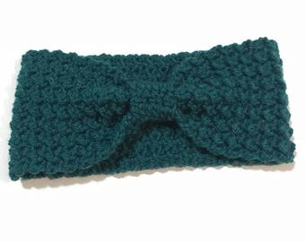 Teal Crochet Ear Warmer, Bow Headband, Gift Ideas for Women, Stocking Stuffers, Turquoise Headband, Knit Ear Warmer, Winter Headband