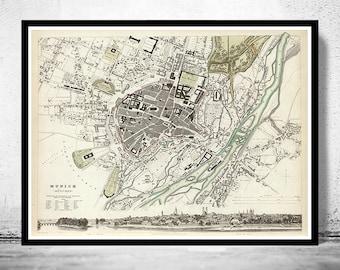 Old Map of Munich Munchen with gravures, Germany Deutshland 1832 Vintage