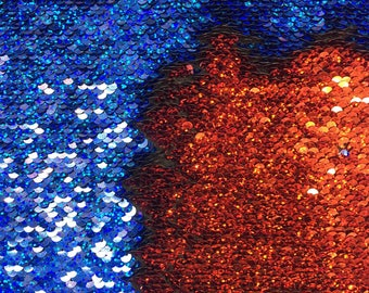 New 5mm Mermaid Reversible Sequin Hologram shiny royal blue/shiny red By Yard