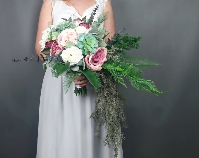 Wild cascading boho flowers wedding bouquet blush dusty pink ivory cascade greenery succulents peony rose ferns eucalyptus long big bridal