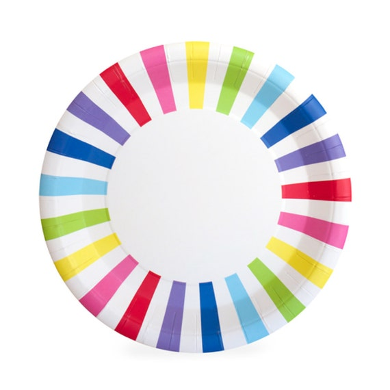 Plates | 9  Rainbow Paper Plates | Rainbow Striped Plates | Art Party | 12 Premium Quality Paper Plates | Party Supplies The Party Darling from ...  sc 1 st  Etsy Studio & Plates | 9