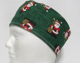 Mens Christmas Scrub Hat or Surgical Cap Santa and Rudolph
