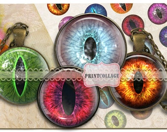 Creature Eyes Digital Printable Sheet Cabochon images 1.5 inch 1inch 16,12mm round images Printable images for pendant Instant download C82