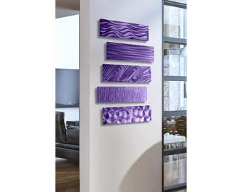 Multi Panel Modern Metal Wall Art In Purple, Contemporary Metal Wall Sculpture, Abstract Home Decor - 5 Easy Pieces Purple by Jon Allen