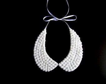 White peter pan collar necklace, peter pan collar, collar necklace, wedding necklace, bridal pearl jewelry, detachable collar