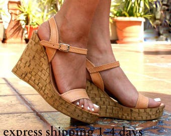 SEMELI sandals/ cork wedge platform/ Greek leather sandal/ platform sandal/ summer sandals/ ankle strap sandals/ natural beige sandals