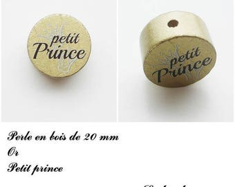 Wooden bead with 20 mm flat bead, little prince, Crown: Gold