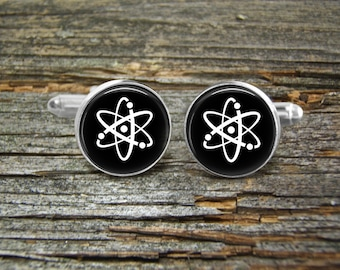 Cufflinks Atom Physics-Black-Wedding-Jewelry Box-Silver-Keepsake-Man gift-Graduation-Men-Groom-Groomsmen-Scientist-Chemistry-Science-Chemist