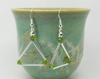 Green Swarovski triangle earrings/Glamourous earrings/silver green earrings/symmetric earrings/silver triangle stud/triangle jewellery