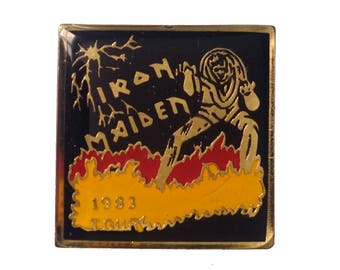 IRON MAIDEN 1983 Tour vintage enamel pins badge Eddie hatchet heavy metal NWoBHM Number of the Beast 666 Live After Death