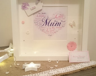 Mum/Grandma/Godmother/Auntie Gift - White Mounted Word Art Box Frame With Embellishments