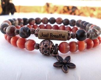 Breathe Bracelet, Just Breathe Inspiration Bracelet, Yoga Bracelet, Yoga Jewelry,  Motivational Gift, Intention Bracelet