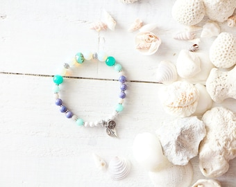 Martinique bracelet, elastic wire, moon beads, beads, turquoise, purple, white, leaf charm, beach style, summer jewel, for women