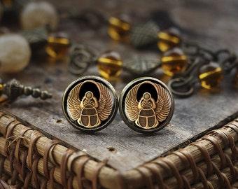 Scarab stud earrings, Scarab jewelry, ancient egypt jewelry, Egyptian earrings, Egyptian Scarab earrings, dark stud earrings
