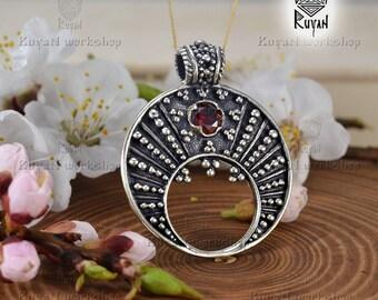 Lunula. Moon Crescent Necklace pendant jewelry. Slavic pendant Moon. Feminine charm. Natural gemstones
