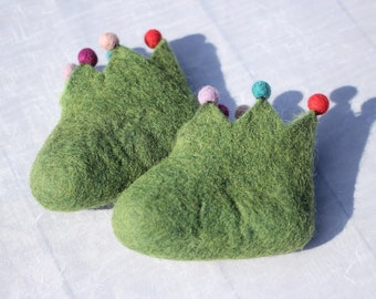 Baby Booties Shoes Felt Natural Pom Pom