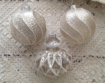 Collection of 3 Shabby Chic Christmas Ornaments
