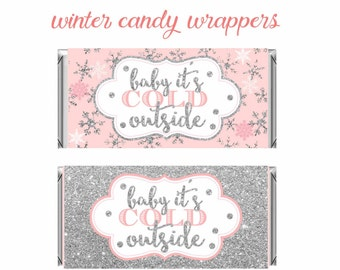 Winter Wonderland Candy Bar Wrappers, Pink and silver Birthday,Winter Baby Shower favors, winter onederland chocolate Wrapper, Digital File.