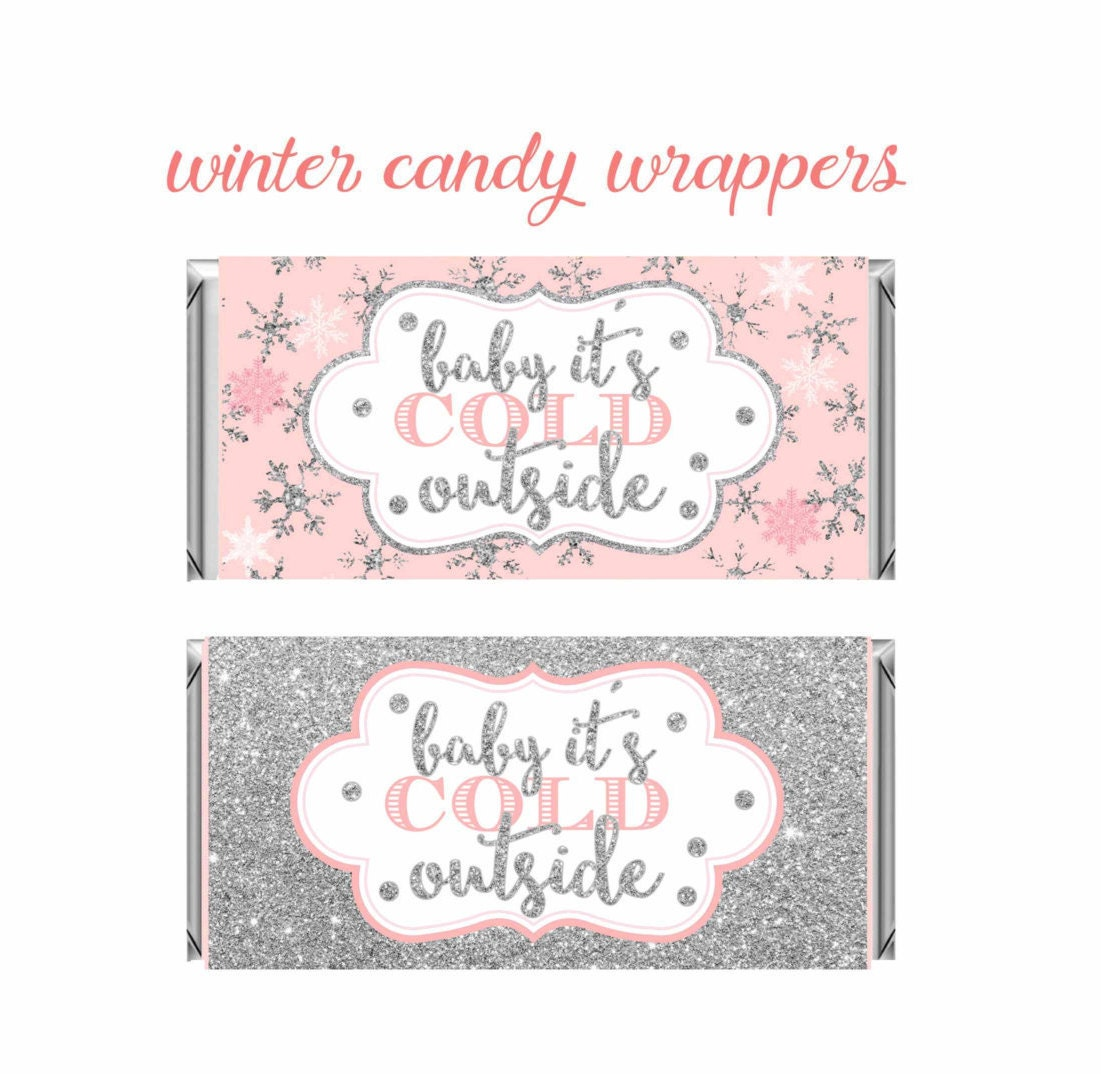 Winter Wonderland Candy Bar Wrappers Pink and silver