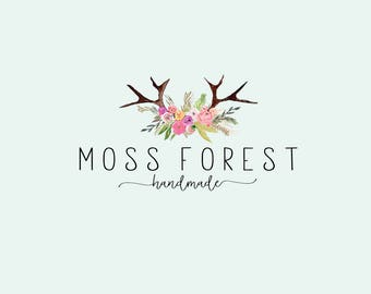 Floral Antlers logo - Bohemian logo - Romantic logo - Branding and logos - Jewelry shop logo - Bohemian logo design - Romantic logo design