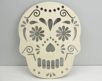 Large sugar skull wooden cutout, Day of the dead, Dia de los Muertos