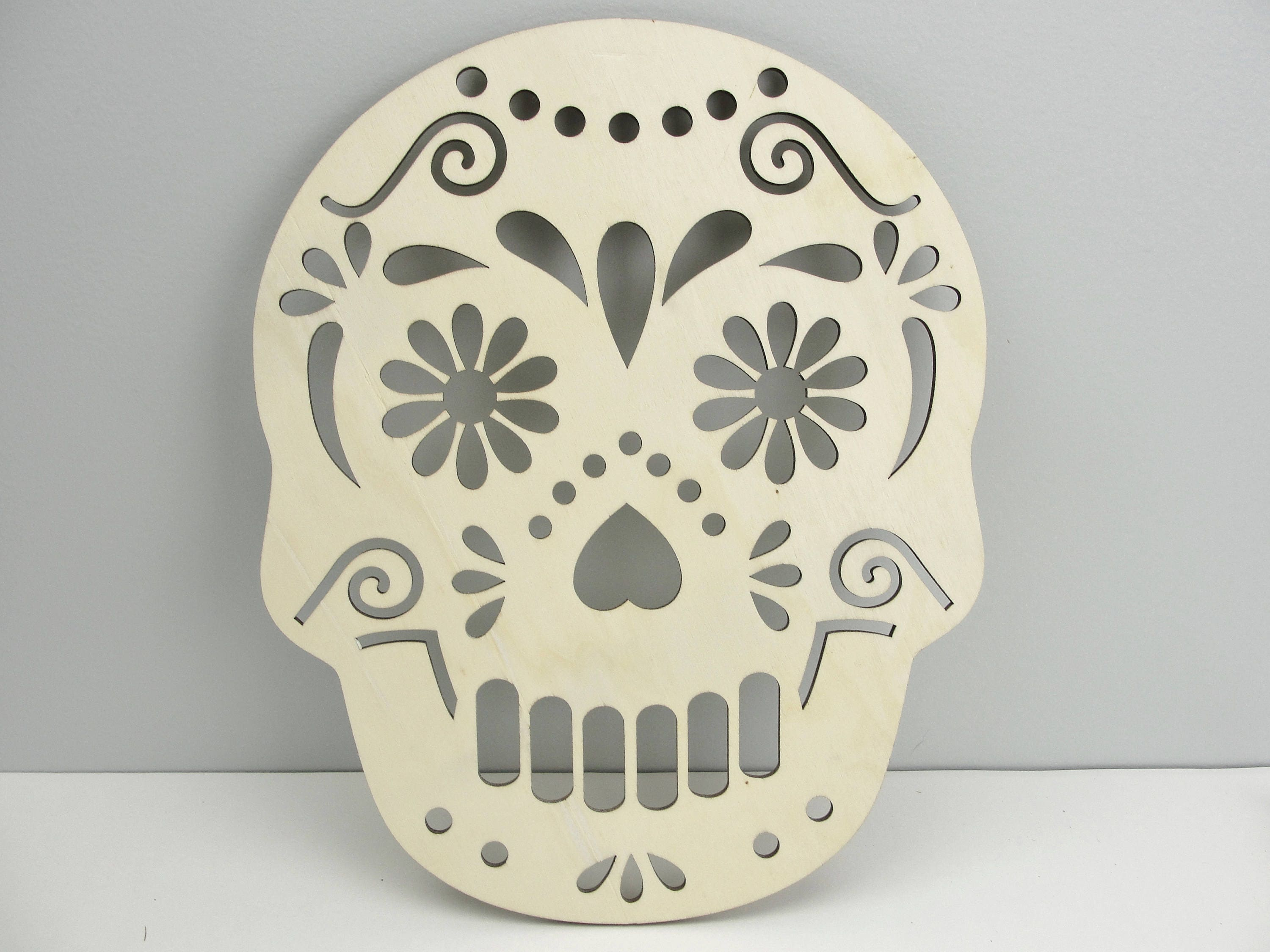 Large sugar skull wooden cutout Day of the dead Dia de los