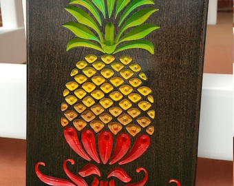 Engraved Espresso Wood Hand Painted Pineapple!