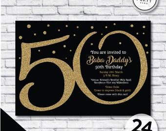 50th birthday invitation etsy 50th birthday invitation black and gold invitation 50th glitter invitation 50th invitation black filmwisefo Images