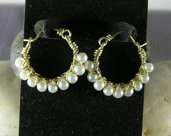 Pearl Hoops w Bronze  - Renaissance Earrings - Elizabethan - Italian