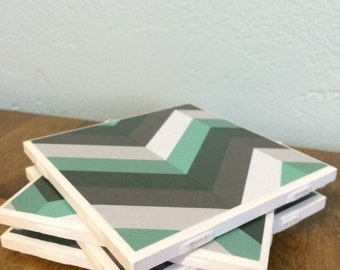 Mint and gray chevron tile coasters