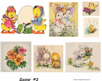 Easter 3 Digital Collage from Vintage Greeting Cards -  Cut Outs -  Instant Download