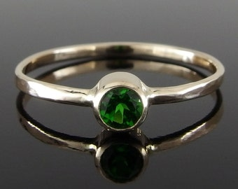 Chrome Diopside and 14k Yellow Gold Stack Ring, Chrome Diopside Stack Ring, 14k Gold Stack Ring, Green Gemstone Ring