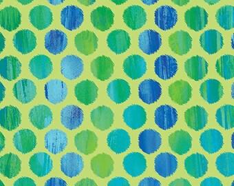 Fuzzy Dot Lime Blue Sunburst Kanvas Benartex Fabric