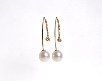 14k Micro Pave Diamond Hook Through Pearl Earrings