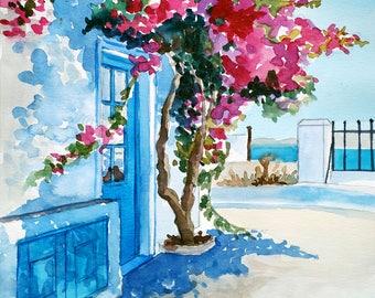 Blue Door/Original Artwork, Watercolor, Modern Art, Wall Decor