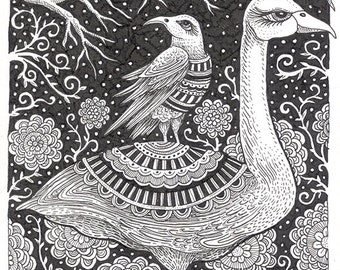 "Ink Drawing 16 - an 8 x 10"" ART PRINT of a playful Swan & a whimsical Raven standing in a beautiful garden of flowers and trees."
