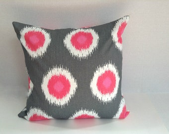 Gray Pink White Ikat Domini Flamingo Pillow, Decorative Throw Pillow Cover - Choose Size - Grey Pink Ikat(1) Cover Square Pillow covers