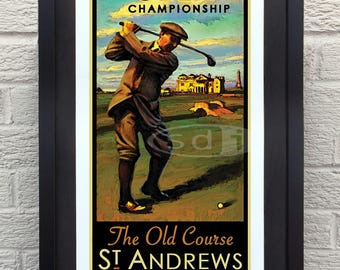 The Open, British Open, St. Andrews Old Course Golf art golf gift sports poster print painting