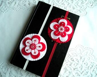 Felt bookmarks handmade, bookmark teacher gift, embroidery, booklover bookclub bookreader gift, Felt ornament flowers, white red