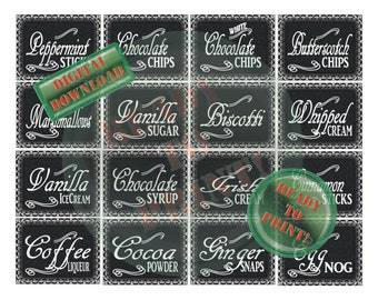 Hot Chocolate Bar Printable Set 16 Ingredients Label Holiday Christmas Party Winter Wedding New Year's Eve Thanksgiving Fall Festival Decor