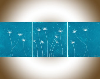 Dandelion painting Turquoise silver wall art original artwork gift for her by qiqigallery
